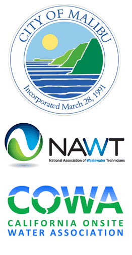 Logos of the City of Malibu, National Association of Wastewater Technicians, and the California Onsite Water Association